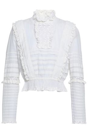 ZIMMERMANN Lace-trimmed ruffled cotton top