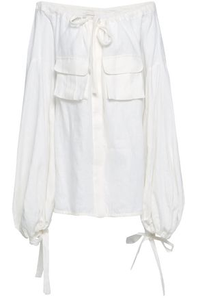 ZIMMERMANN Golden Skater off-the-shoulder bow-detailed linen blouse
