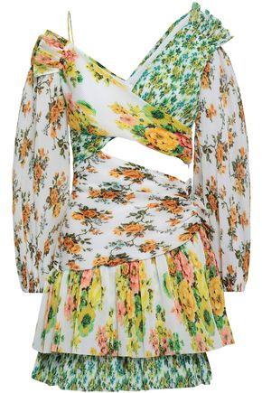ZIMMERMANN Cutout floral-print plissé georgette mini dress