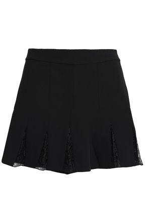 ALICE + OLIVIA Lace-paneled crepe shorts