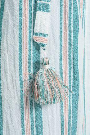 ZIMMERMANN Tasseled striped cotton-gauze blouse