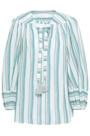 ZIMMERMANN Tasseled striped cotton-gauze blouse