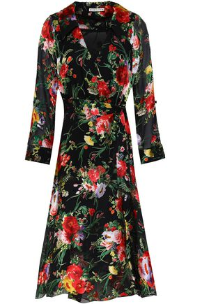 ALICE + OLIVIA JEANS Floral-print devoré satin midi dress