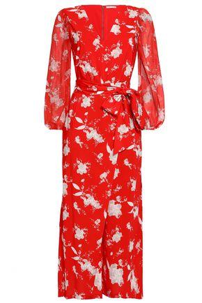 ALICE + OLIVIA Cropped floral-print crepe jumpsuit