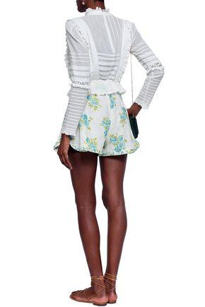 ZIMMERMANN Button-embellished floral-print linen shorts