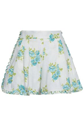ZIMMERMANN Button-embellished floral-print linen shorts