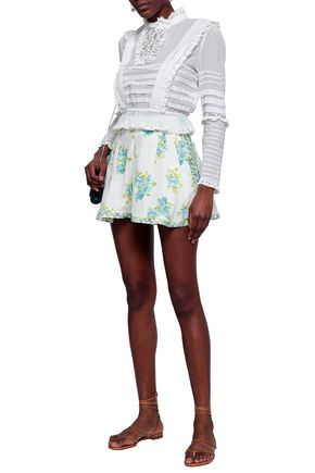 Zimmermann Button-embellished Floral-print Linen Shorts In White