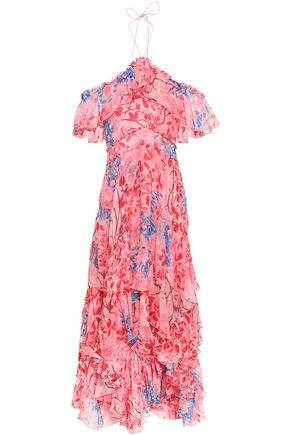 ALICE + OLIVIA | Alice + Olivia Cold-Shoulder Floral-Print Silk-Georgette Maxi Dress | Goxip