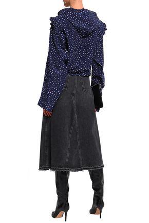 VETEMENTS Ruffle-trimmed polka-dot silk crepe de chine blouse