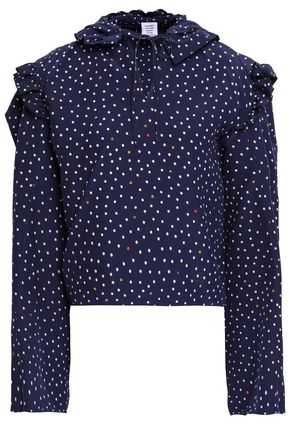 VETEMENTS Ruffle-trimmed polka-dot silk crepe de chine blouse