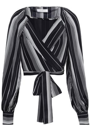 ZIMMERMANN Striped silk crepe de chine wrap top