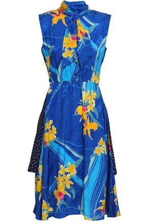 VETEMENTS Printed silk-jacquard and crepe dress