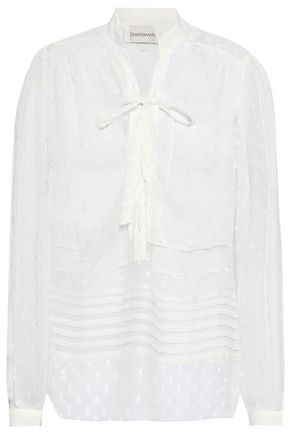 ZIMMERMANN Radiate pussy-bow lace-paneled fil coupé gauze blouse