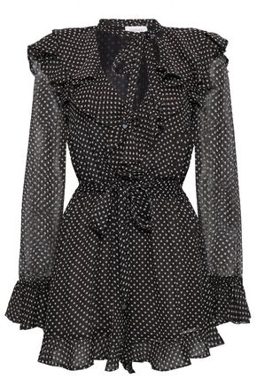 ZIMMERMANN Belted ruffled polka-dot silk-georgette playsuit