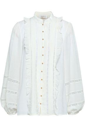 ZIMMERMANN Lace-trimmed silk-blend georgette shirt