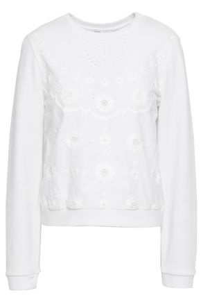REDValentino Broderie anglaise French cotton-blend terry sweatshirt