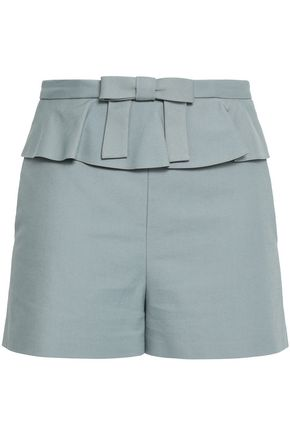 REDValentino Bow-embellished ruffle-trimmed cotton-blend shorts