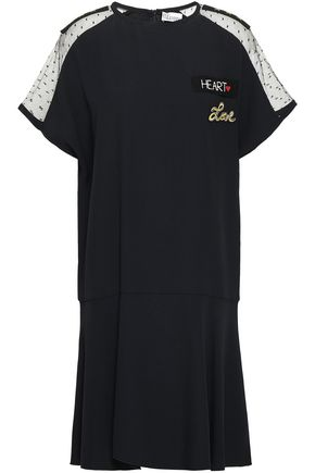 REDValentino Point d'esprit-paneled printed cotton-jersey T-shirt