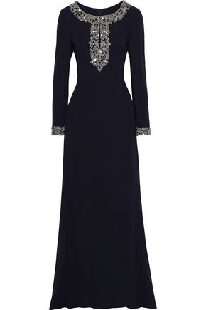 REEM ACRA Embellished silk-jersey gown