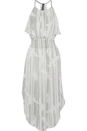 HALSTON Shirred printed crepe de chine midi dress