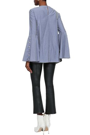 PRABAL GURUNG Knotted striped cotton top
