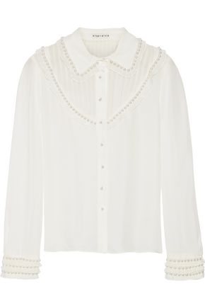 ALICE + OLIVIA Noreen faux pearl-embellished pintucked silk-chiffon blouse