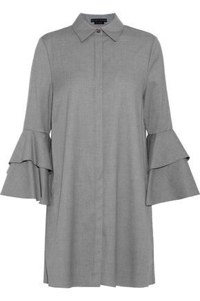 ALICE + OLIVIA Jem tiered twill mini shirt dress