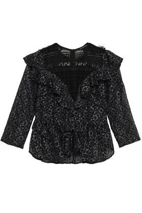MARISSA WEBB Gabrielle frayed guipure lace top