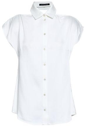 MARISSA WEBB Bow-detailed lace-paneled crepe top