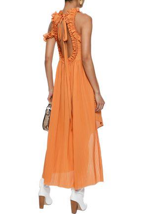 MAGDA BUTRYM Assisi cold-shoulder silk and cotton-blend midi dress