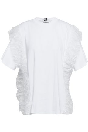 MSGM Lace-trimmed cotton-jersey T-shirt
