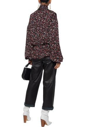 MAGDA BUTRYM Cali wrap-effect floral-print washed-silk blouse