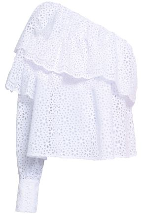 MSGM One-shoulder broderie anglaise cotton top