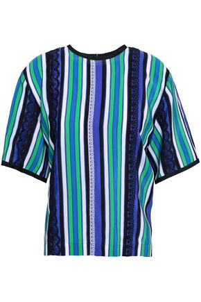 MSGM Lace-trimmed striped silk crepe de chine top