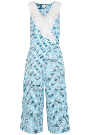 MIGUELINA Rafaella lace-trimmed broderie anglaise gingham cotton jumpsuit