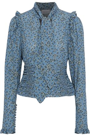 MAGDA BUTRYM Mancini pussy-bow floral-print silk and cotton-blend blouse
