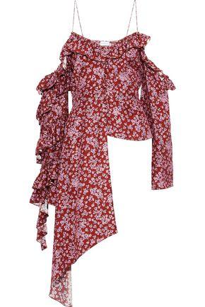 MAGDA BUTRYM Pireus cold-shoulder ruffled floral-print silk-jacquard top