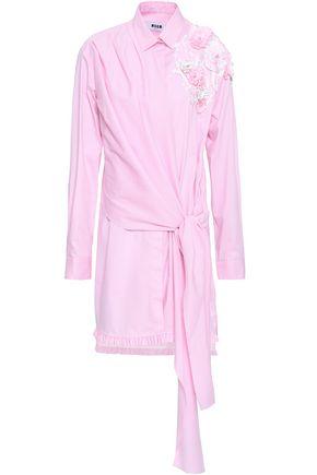 MSGM Embellished cotton-blend poplin mini shirt dress