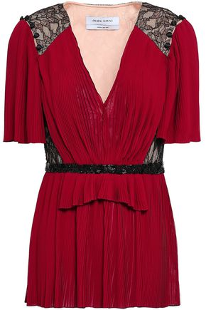 PRABAL GURUNG Lace-paneled plissé chiffon top