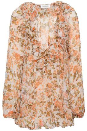 ZIMMERMANN Ruffle-trimmed floral-print silk-georgette blouse