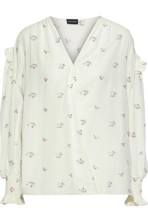 MAGDA BUTRYM Granelli embroidered floral-print silk-chiffon wrap blouse