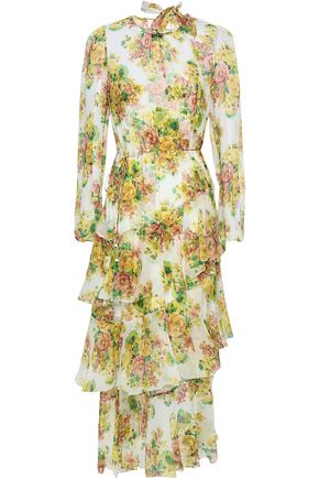 ZIMMERMANN Asymmetric belted floral-print silk-georgette midi dress