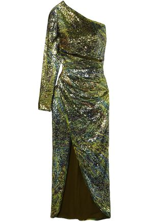 ELIE SAAB One-shoulder split-front sequined tulle midi dress