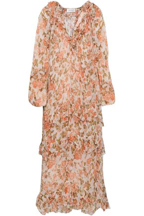 ZIMMERMANN Ruffle-trimmed printed silk-georgette midi dress