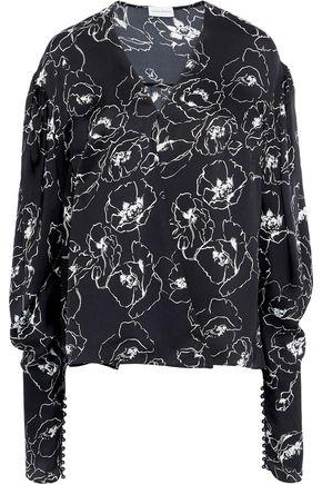 MAGDA BUTRYM Camas draped floral-print silk crepe de chine wrap blouse