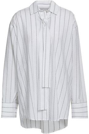 MSGM Oversized striped cotton-poplin shirt