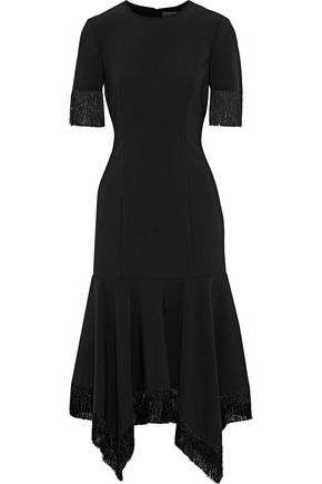 SACHIN & BABI Asymmetric fringed crepe midi dress