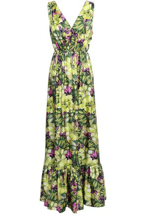 MSGM Floral-print silk-twill maxi dress