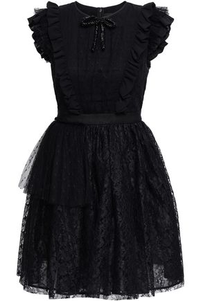 MSGM Ruffled point d'esprit and lace mini dress