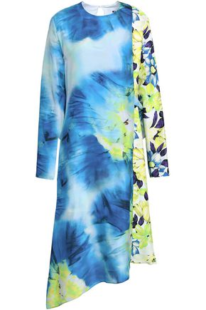 MSGM Lace-up floral-print silk-twill dress